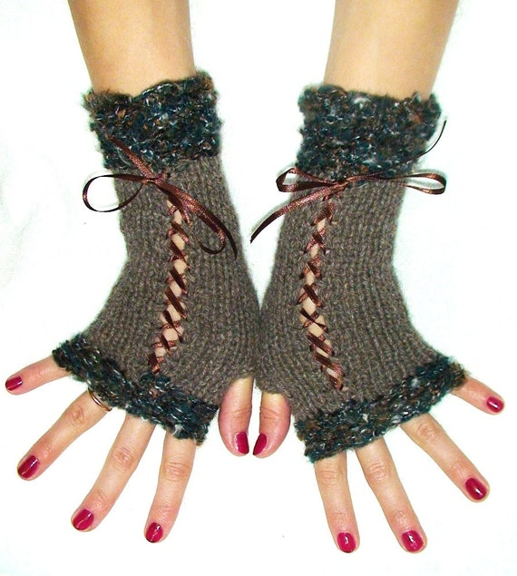 Fingerless Gloves Knit Woolen Corset Wrist Warmers in Taupe Brown Green with Satin Ribbons Victorian Style