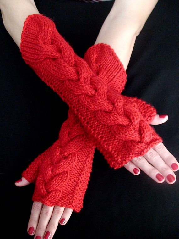 Fingerless Gloves Knit  Wrist Warmers Darker Red Cabled , Soft and Long