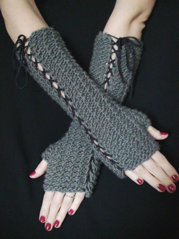 Fingerless Gloves Grey Arm Warmers in Natural Wool, Warm and Thick