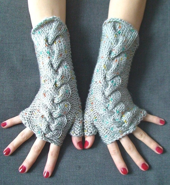 Fingerless Gloves Grey Cabled  Acrylic Wrist Warmers