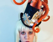 Octopus Tentacle Hat - Steampunk Victorian Masquerade Top Hat - Orange x Gold x Black - 3 to 4 Week Turnaround