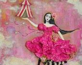 Cirque Dans Le Nuage - 10x10 mixed media original art