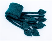 Short Scarf hand knitted navy green leaves. Sale, Discount, Black Friday, 40% OFF