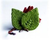 Green Leaf Earrings, handknit moss green handmade jewelry