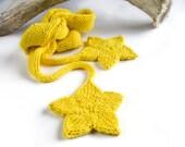 Flower Scarf, Star Scarf, yellow skinny scarf, double knit sunny scarf