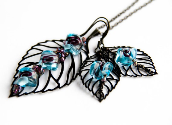 Jewelry SET Leaf Earrings Necklace, black blue colors, filigree leaves