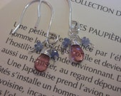 SALE Pink tourmaline and sparkly blue sapphire earrings