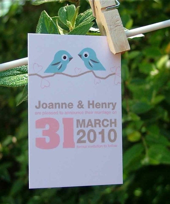 Love Birds Mini Wedding Invitation