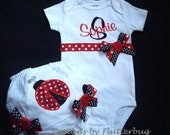 PERSONALIZED Bloomer and Bodysuit Set  -  Ladybug Red and Black