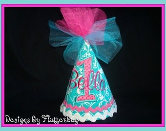 GIRLS PERSONALIZED 1ST Birthday Hat  -  Aqua and Fushia with appliqued number