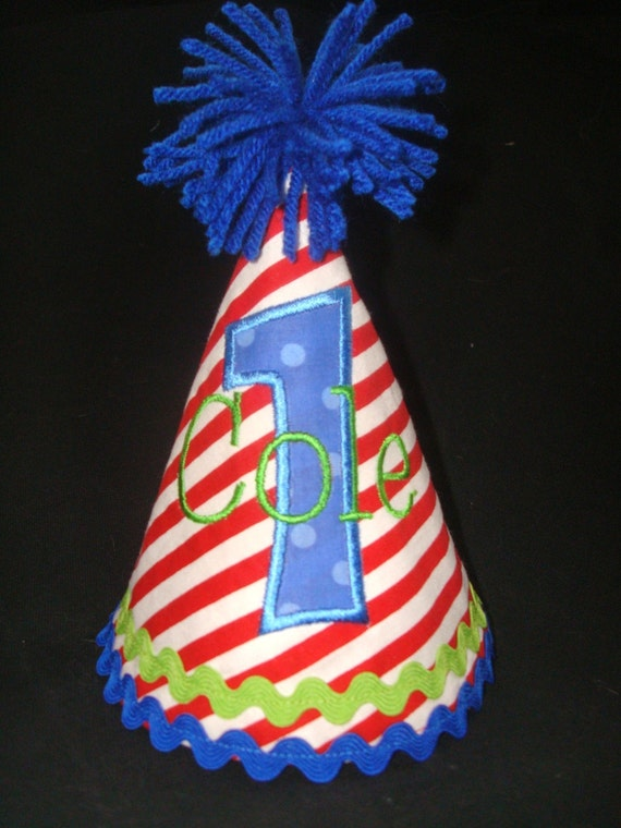 PERSONALIZED BOY'S Birthday Hat -1st Birthday Hat-2nd Birthday Hat- Red, Blue and Green