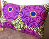 African Print Throw Pillow Cover (Pink Nucleus) 12 x 18 inches