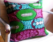 African print throw pillow cover - Aquaflora (18 x 18 inches)