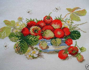 COMPLETED CROSS STITCH   STRAWBERRIES     STILL LIFE