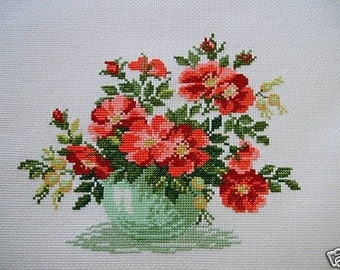 COMPLETED CROSS STITCH WILD ROSES