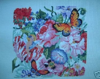 COMPLETED CROSS-STITCH VICTORIAN FLORA
