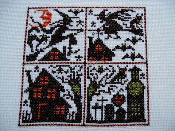 Completed Prairie Schooler Halloween Cross Stitch Sampler  -  CATS, BATS, & WITCHES