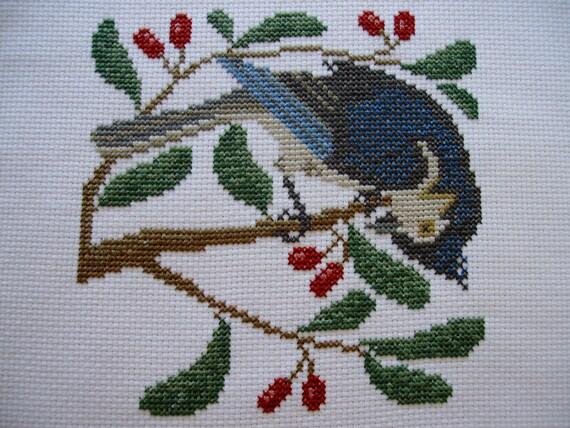 Completed Prairie Schooler Cross Stitch Birds And Berries
