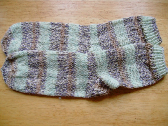 Hand Knit Soft And Warm  Striped Women's Superwash Merino Wool  Socks, Size 7 - 7.5  (9.25 inches length) - Color Mint