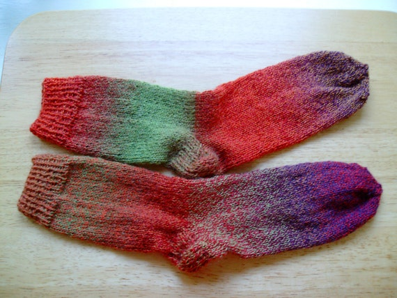 Hand Knit Soft And Warm  Women's Superwash Wool  Socks, Size 7 - 8  (9.5 inches length)