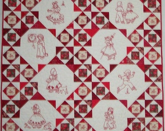 Nursery Rhyme Baby Quilt Red and White