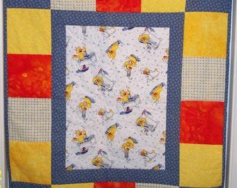 Yellow Duckies Baby Quilt - Blue, Yellow and Orange