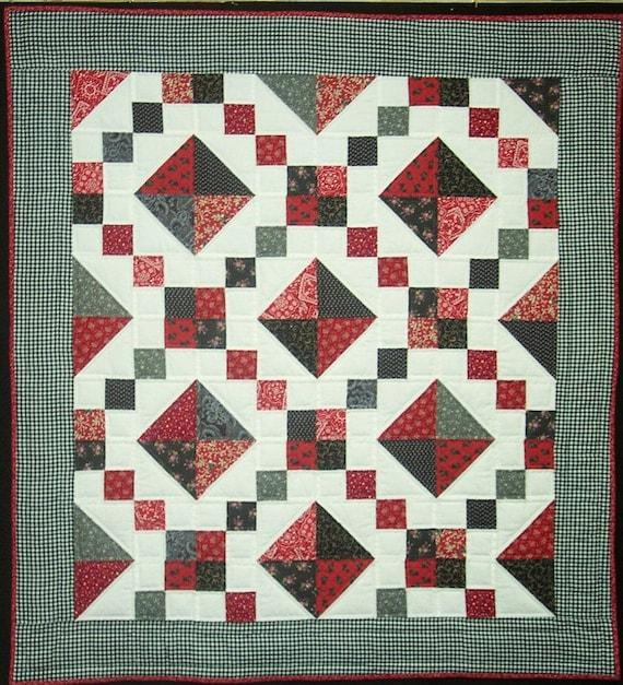 Red Black Jewel Box Baby Quilt