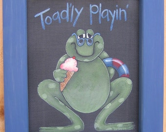 Tole Painting Pattern Toad or Frog Playing in Summer Time, Toad Sign, Summer Time, Toad'ly Playing Toad Pattern, Whimsical Art, Green Frog