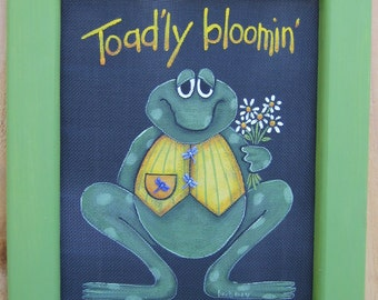Tole Painting Pattern, Spring Time, Toad'ly Blooming, DIY, Toad or Frog Pattern, Spring Time Toad with Flowers, Instructional Pattern