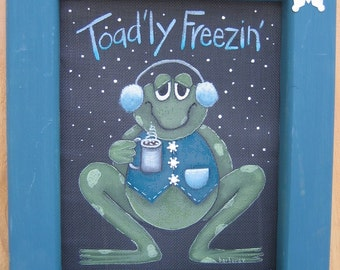 Toad'ly Freezin' Toad or Frog Decorative Painting Pattern, Tole Painting Pattern, Green Toad or Frog, January Toad, Hot Cocoa,Winter Time