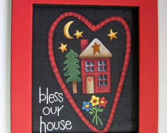 Tole Painting Pattern, Bless Our House, Painted on Black Screen, Red Heart and Home with Trees and Flowers Scene, Instructiona Pattern,DIY