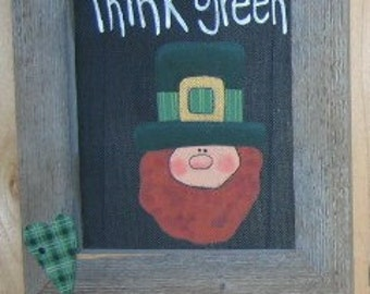 Tole Painting Pattern, Thinkin' Green Sign, Leprechaun and Shamrocks, St. Patricks Day, DIY, Instructional Pattern for Tole Painting