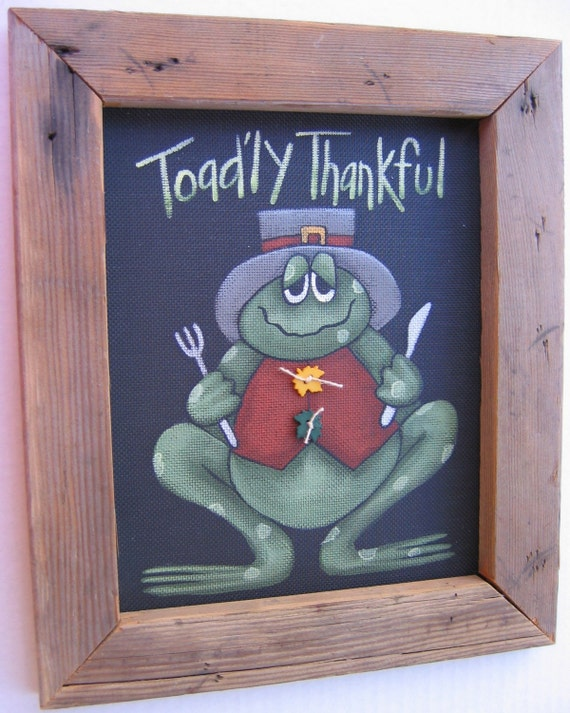 Toad'ly Thankful Tole Painting Pattern, Thanksgiving, Green Toad or Frog, Instructional Pattern,DIY, Whimsical Toad, Thanksgiving Themed Art