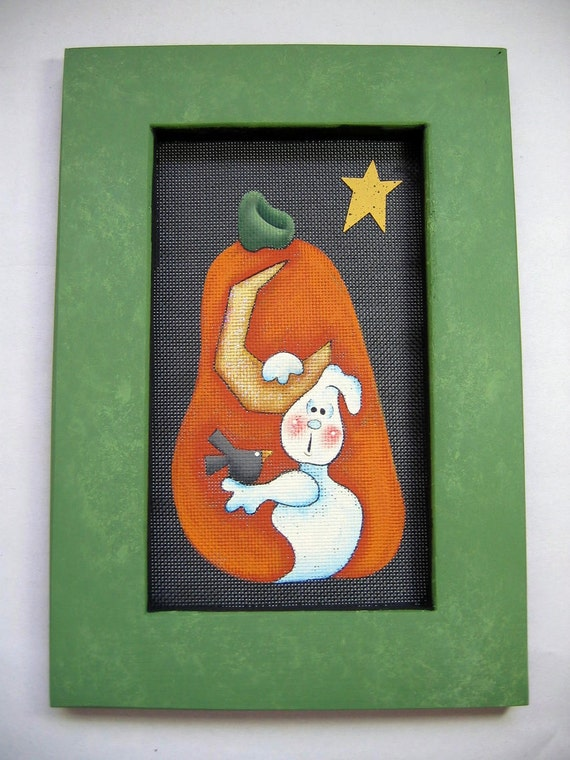 A Ghost, a Crow, and a Pumpkin Tole Painted and Framed in Green
