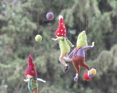 Gnomes football  championship , needle felted mobile, waldorf inspired