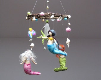 Mermaids and the ocean needle felted mobile