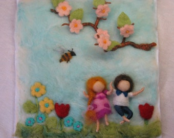 Needle felted tapestry, waldorf inspired