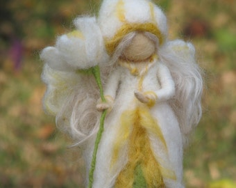 Flower Fairy narcissus needle felted doll waldorf inspired
