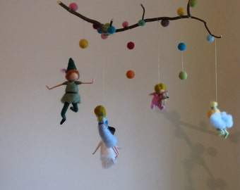 Peter pan and his friends needle felted mobile Nursery crib decor