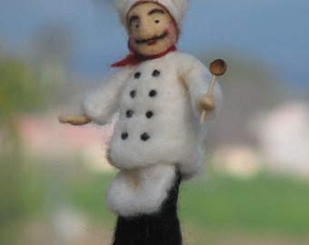 SALE.....Needle felted chef/cook, the best way to say: I like what you cook for me