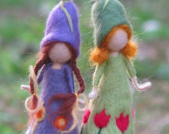 Needle felted spring dolls waldorf inspired doll