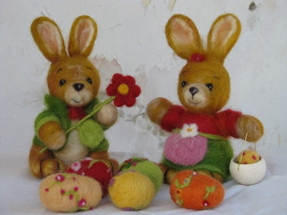 SALE....Easter bunnies needle felted