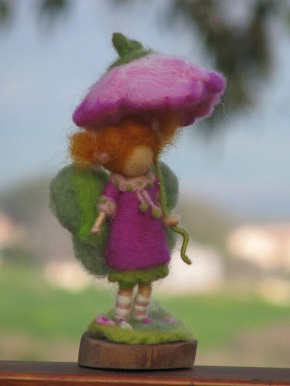 Its raining day, needle felted fairy decoration
