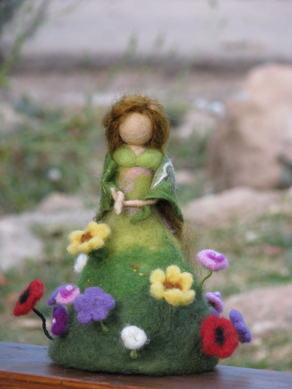Summer is on its way Needle felted doll Waldorf inspired