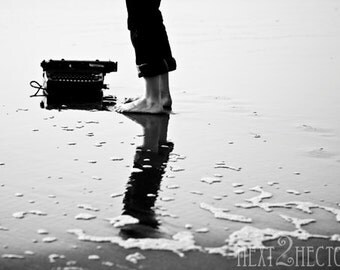 Typing on Jetsam - A Girl and Her Typewriter - 5x7 Inch Photograph