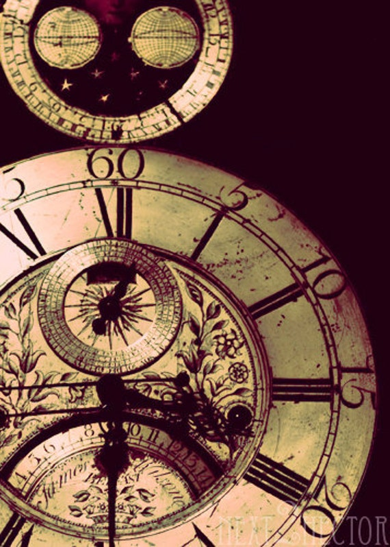 SteamPunk Grandfather Clock Faces 5x7 Inch Photographic Print