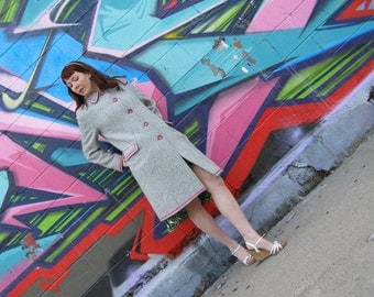 Upcycled Vintage Blue Skies Coat, Size 10-12