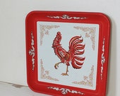Vintage Square Red and White Rooster Tray