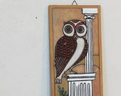 RESERVED FOR faliron - Vintage Owl of Medusa Hand Made Plaque Athens Greece