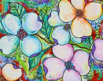 HUGE Dogwood Art Vibrant Colorful Painting Flowers Floral Douthit
